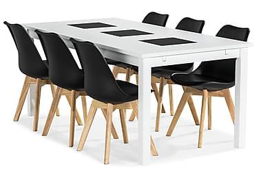 Jasmin Spisebordssæt med 6 stk Stil Stole