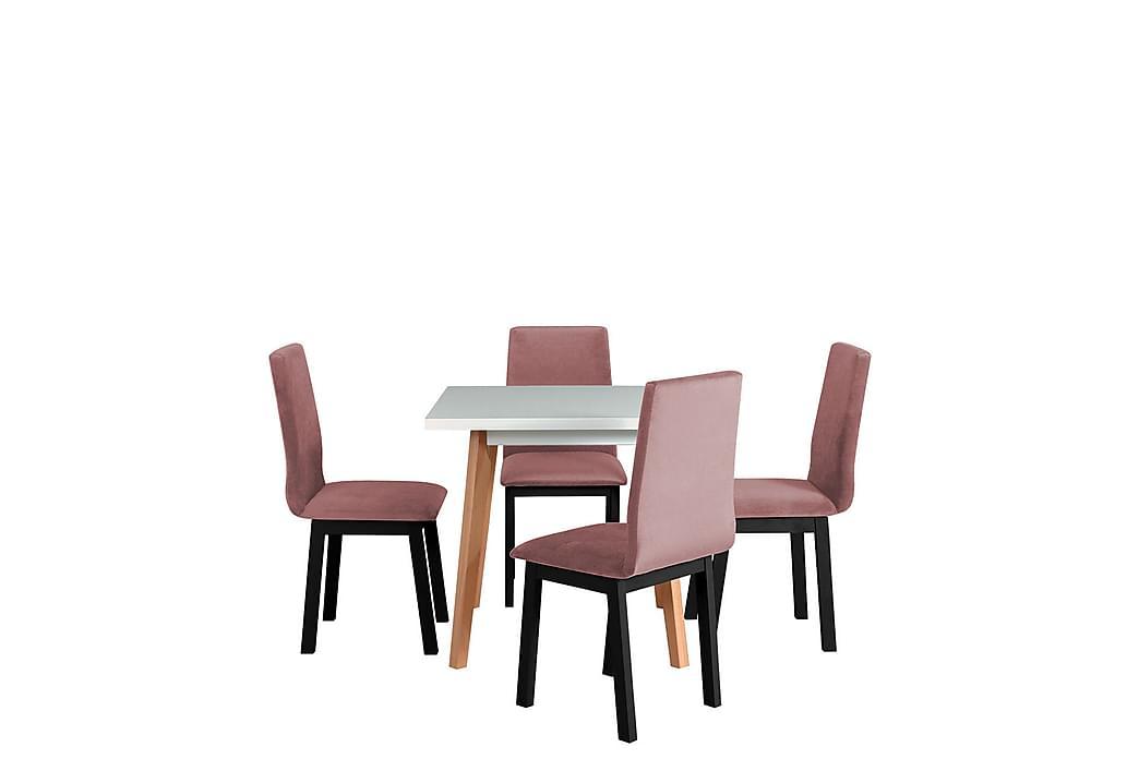 Klemas Spisebordssæt - Lyserød/Sort/Træ/Hvid - Møbler - Spisebordssæt - Rektangulært spisebordssæt