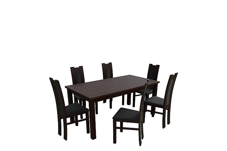 Kumo Spisebordssæt - Valnød - Møbler - Spisebordssæt - Rektangulært spisebordssæt