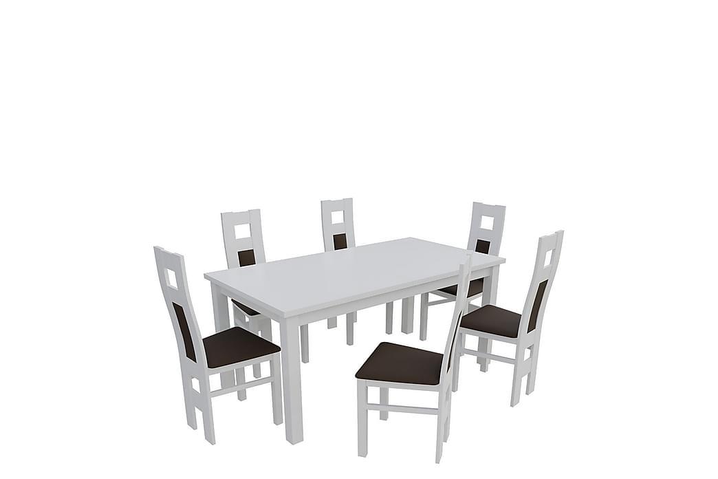 Larsmo Spisebordssæt 160 cm inkl. 6 stole - Hvid   Brun - Møbler - Spisebordssæt - Rektangulært spisebordssæt