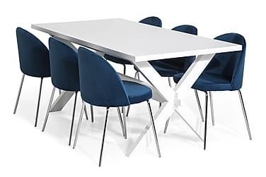 Linnea Spisebordssæt 180 med 6 Felipe Stol Velour