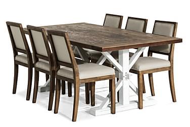 Lyon Udvideligt Spisebordssæt 200 cm med 6 Frank Stol