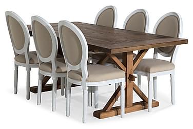 Lyon Udvideligt Spisebordssæt 200 cm med 6 Lewis Stol