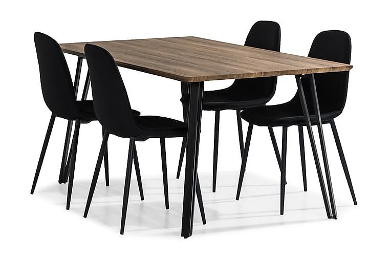 Marcelen Spisebordssæt 160 cm med 4 Nibe Stol - Brun/Sort - Møbler - Spisebordssæt - Rektangulært spisebordssæt
