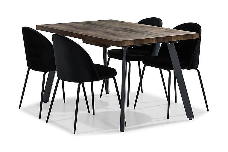 Marcelen Udvideligt Spisebordssæt 140 cm med 4 Felipe Stol - Brun/Sort - Møbler - Spisebordssæt - Rektangulært spisebordssæt