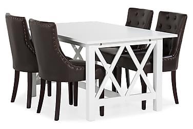 Milla Spisebordssæt med 4 Tuva Lænestol