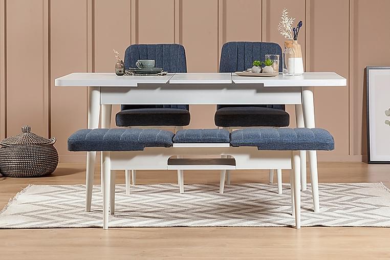 Pangle Spisebordssæt 4 dele 75 cm - Hvid/Mørkeblå - Møbler - Spisebordssæt - Rektangulært spisebordssæt