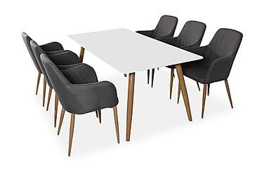 Pelle Spisebordssæt med 6 Casper Stole