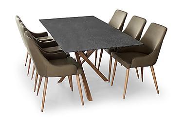 Penny Spisebordssæt med 6 stk Pelle Stole