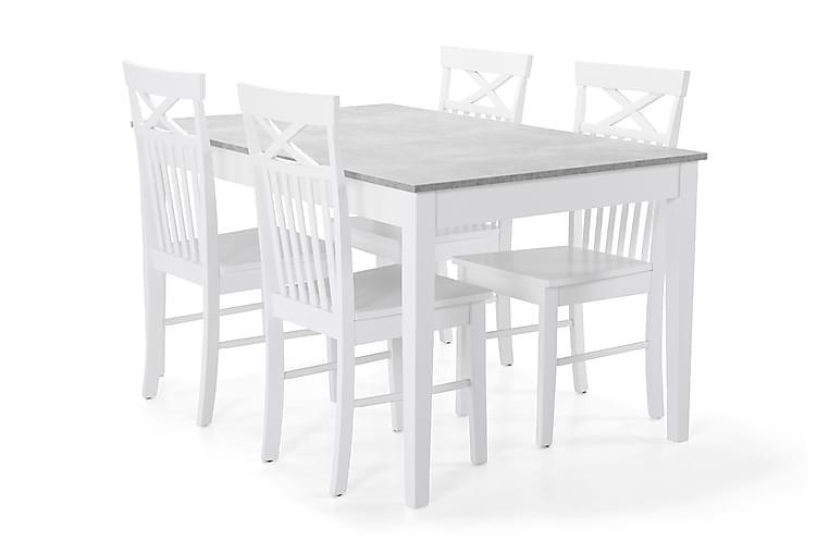 Romeo Spisebord med 4 stk Michigan Stole - Beton/Hvid - Møbler - Spisebordssæt - Rektangulært spisebordssæt