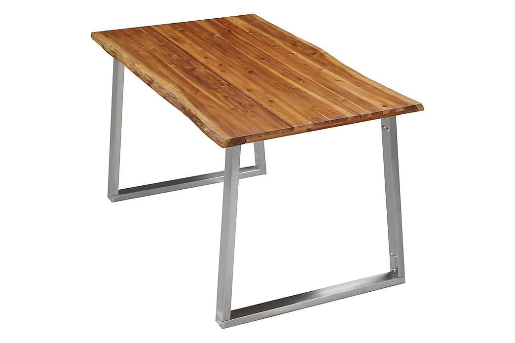 Spisebordssæt 3 Dele Massivt Akacietræ Brun - Brun - Møbler - Spisebordssæt - Rektangulært spisebordssæt
