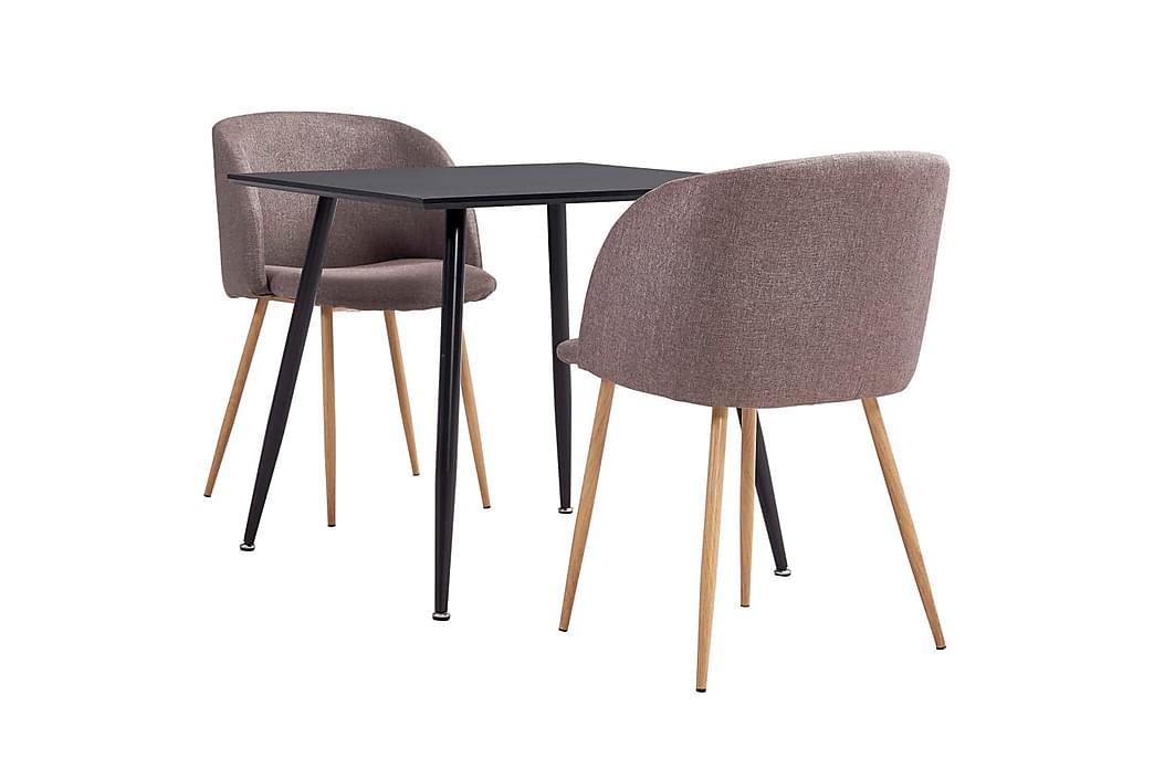 Spisebordssæt 3 Dele Stof Brun - Brun - Møbler - Spisebordssæt - Rektangulært spisebordssæt