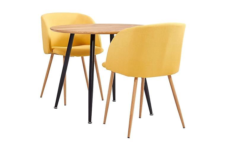 Spisebordssæt 3 Dele Stof Gul - Gul - Møbler - Spisebordssæt - Rektangulært spisebordssæt
