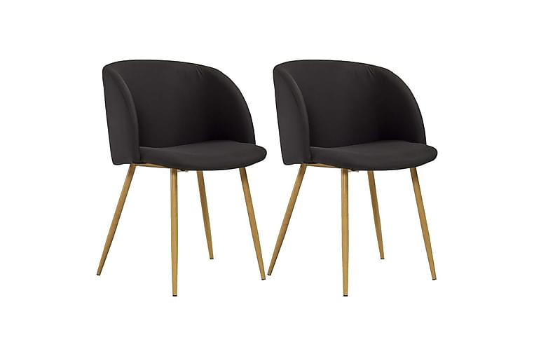 Spisebordssæt 3 Dele Stof Sort - Sort - Møbler - Spisebordssæt - Rektangulært spisebordssæt
