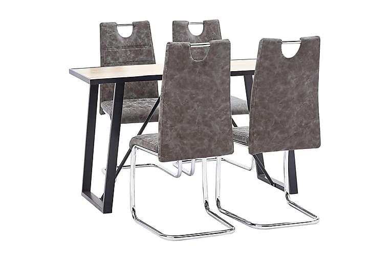 Spisebordssæt 5 Dele Kunstlæder Brun - Brun - Møbler - Spisebordssæt - Rektangulært spisebordssæt