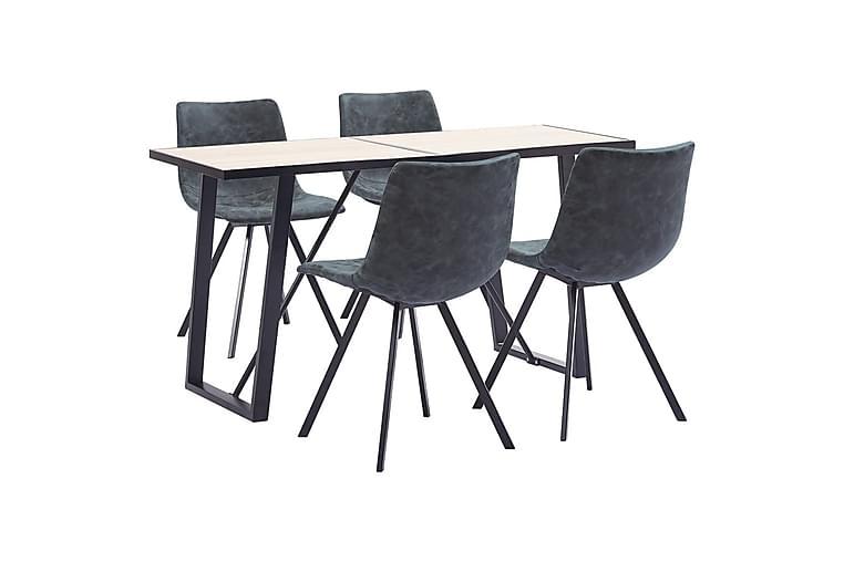 Spisebordssæt 5 Dele Kunstlæder Sort - Sort - Møbler - Spisebordssæt - Rektangulært spisebordssæt