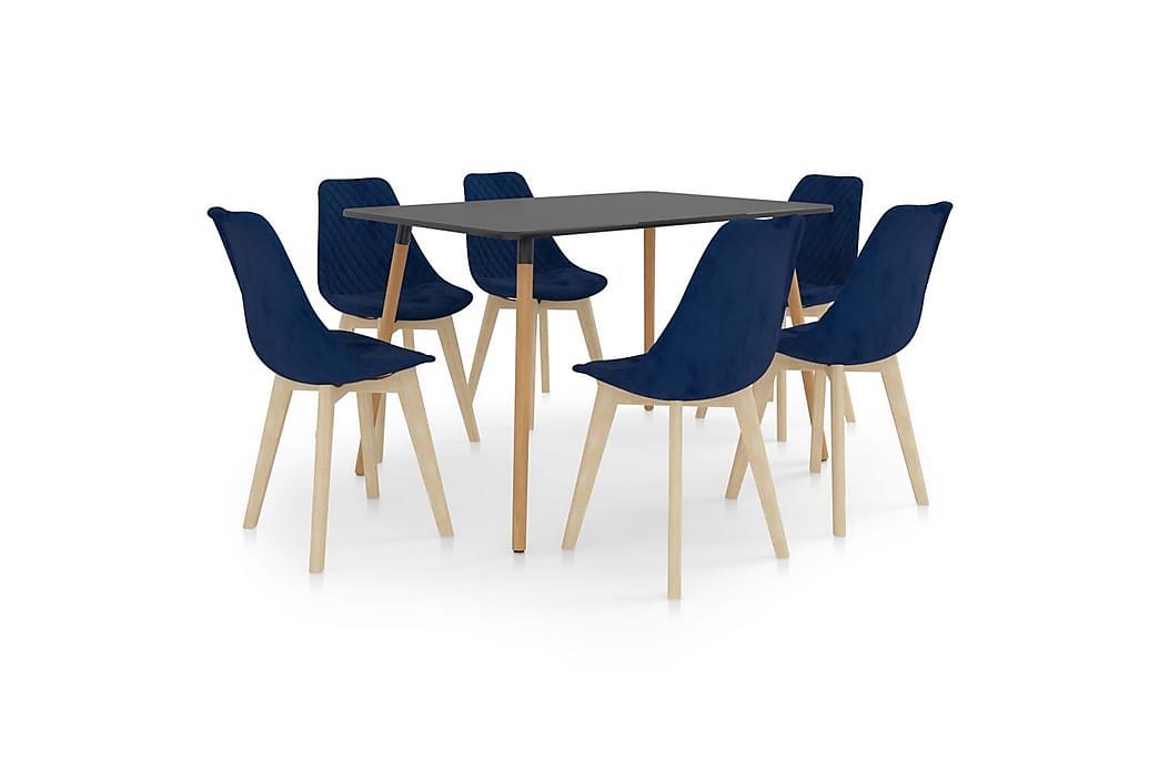 Spisebordssæt 7 dele blå - Blå - Møbler - Spisebordssæt - Rektangulært spisebordssæt