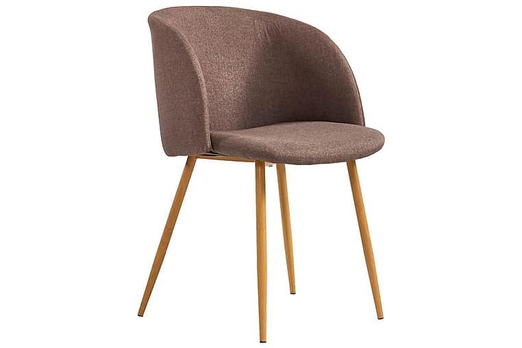Spisebordssæt 7 Dele Stof Brun - Brun - Møbler - Spisebordssæt - Rektangulært spisebordssæt