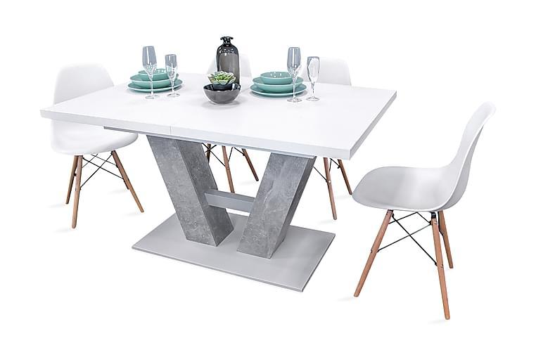 Spisebordssæt Alvaro bord + 4 Fiore stole - Grå / Hvid - Møbler - Spisebordssæt - Rektangulært spisebordssæt