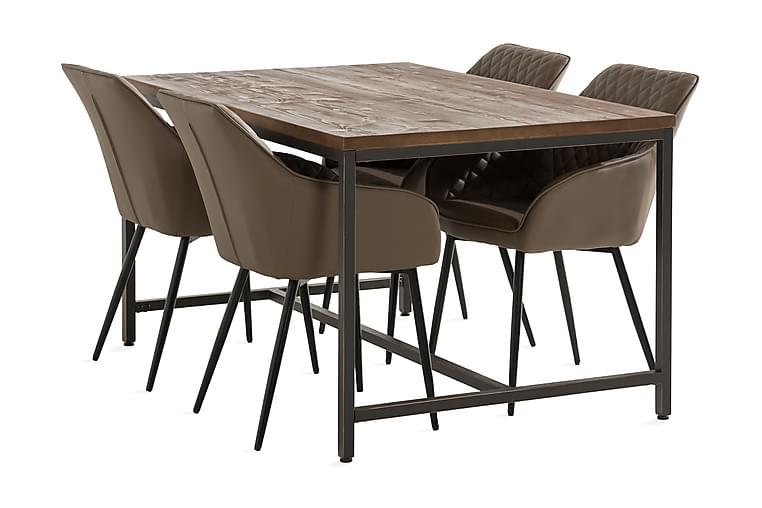 Wilmer Spisebordssæt 140 cm inkl 4 Valleviken Armstole - Sort/Brun - Møbler - Spisebordssæt - Rektangulært spisebordssæt