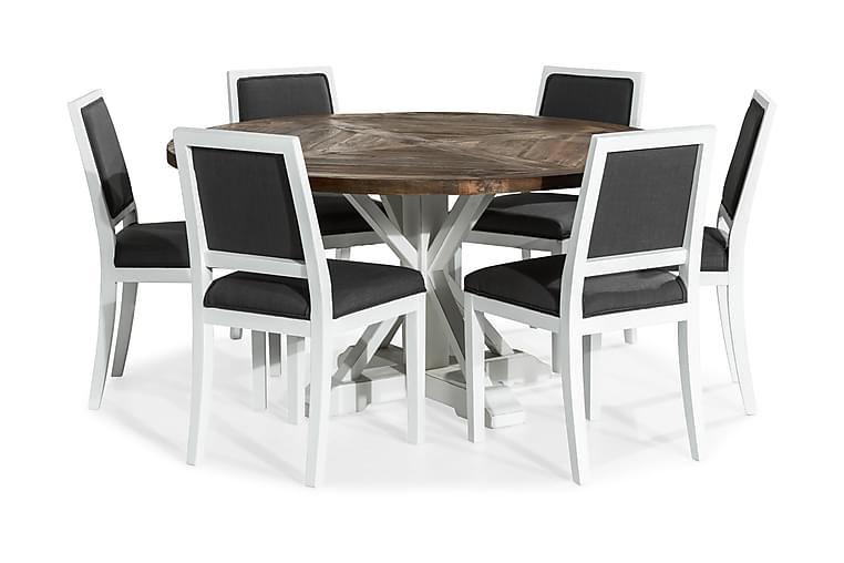 Lyon Spisebordssæt 150 cm Rund med 6 Frank Stole - Hvid/Grå - Møbler - Spisebordssæt - Rundt spisebordssæt