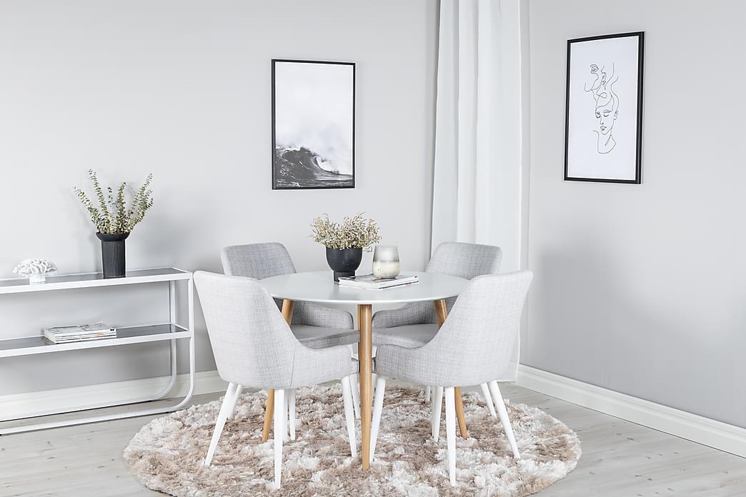 Pelle Spisebord Rundt med 4 Ridones Spisebordsstol - Møbler - Spisebordssæt - Rundt spisebordssæt