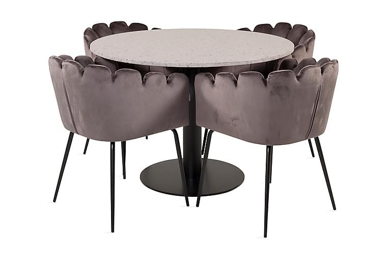 Razzia Spisebordssæt 106 cm Rund inkl 4 Limhamn Stole Grå - Furniture Fashion - Møbler - Spisebordssæt - Rundt spisebordssæt