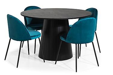 Tucu Spisebordssæt 120 med 4 Felipe Stol Velour
