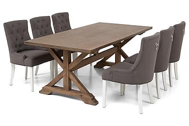 Lyon Udvideligt Spisebordssæt 200 cm med 6 Viktoria Stol