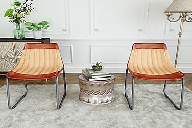 Spisebordsstole 2 Stk. Ægte Læder Og Kanvas Brun Og Beige