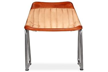 Spisebordsstole 6 Stk. Ægte Læder Og Kanvas Brun Og Beige
