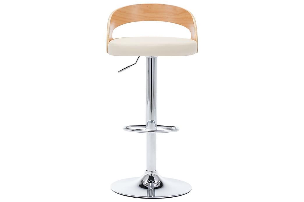 Barstole 2 stk. kunstlæder og bøjet træ cremefarvet - Creme - Møbler - Stole - Barstole