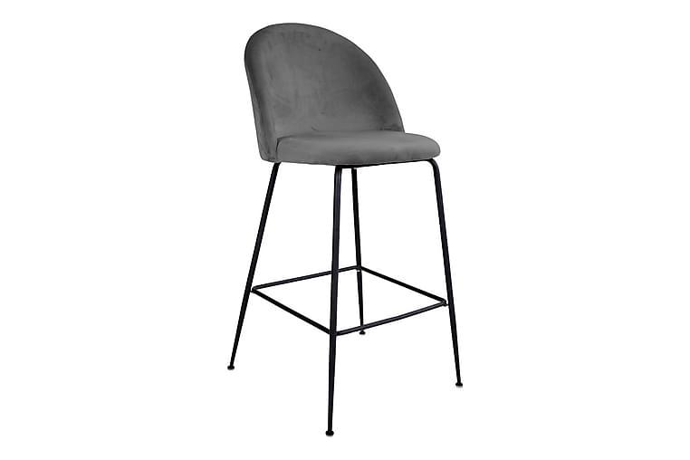 Lausanne Bar Chair - Barstol grå i fløjl m. Sort ben - Møbler - Stole - Barstole