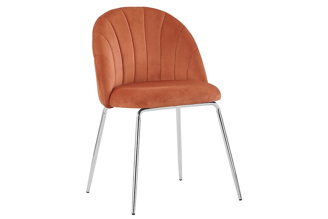 Felipe Spisebordsstol Velour - Orange - Møbler - Stole - Spisebordsstole & køkkenstole