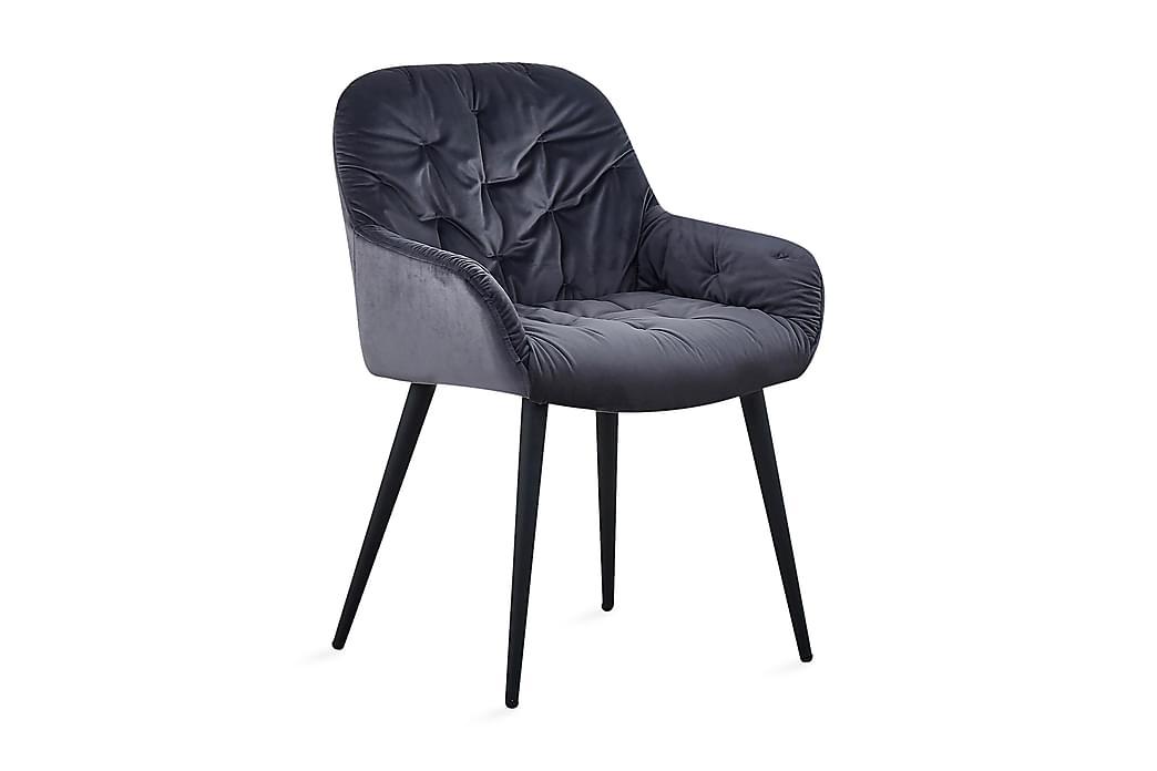 Giovanni Køkkenstol Velour - Grå/Sort - Møbler - Stole - Spisebordsstole & køkkenstole