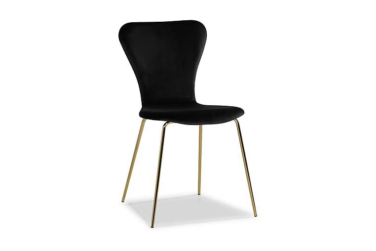 Perco Spisebordstol Velour - Sort/Messing - Møbler - Stole - Spisebordsstole & køkkenstole