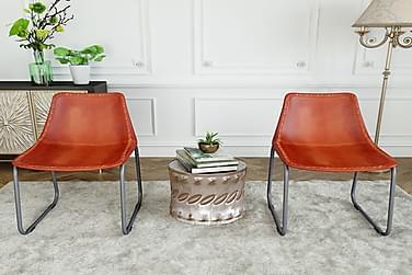 Spisebordsstole 2 Stk. Ægte Læder Brun