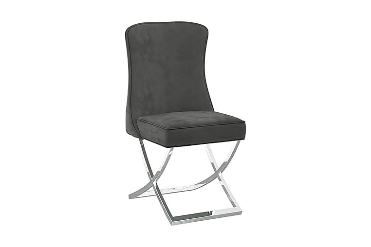 spisebordsstole 2 stk. 53x52x98 cm fløjl grå - Grå - Møbler - Stole - Spisebordsstole & køkkenstole