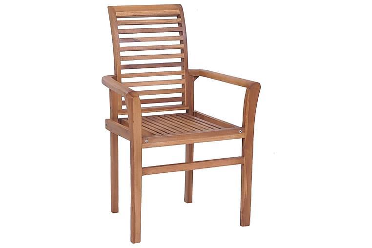 Spisebordsstole 2 Stk. Med Sorte Hynder massivt teaktræ - Møbler - Stole - Spisebordsstole & køkkenstole