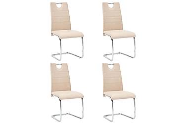 Spisebordsstole 4 stk. kunstlæder cremefarvet