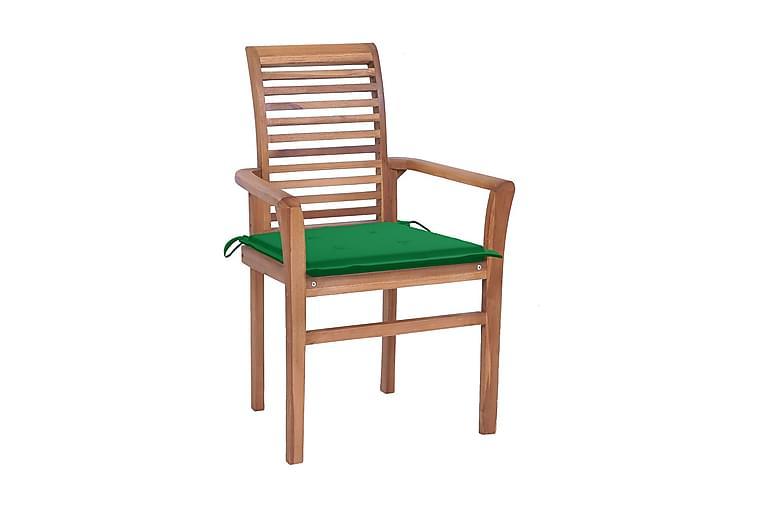 spisebordsstole 4 stk. med grønne hynder massivt teaktræ - Møbler - Stole - Spisebordsstole & køkkenstole
