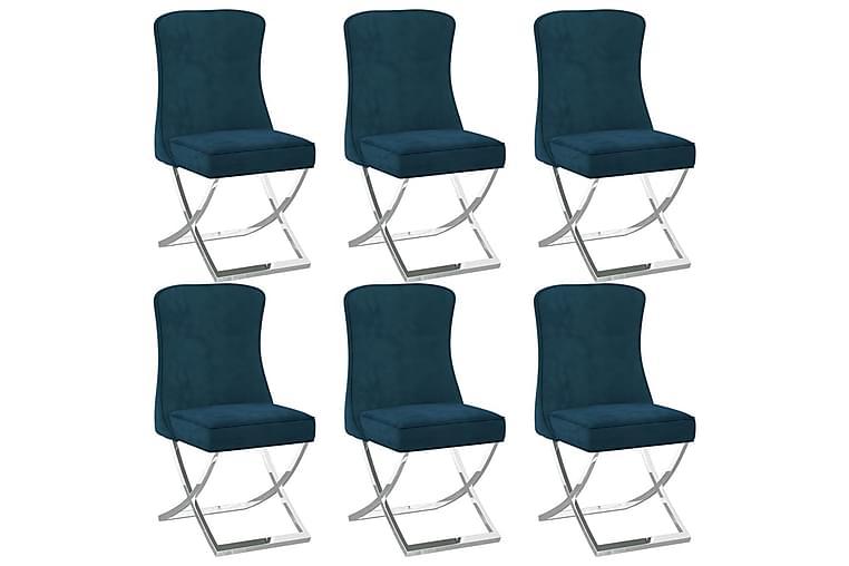 spisebordsstole 6 stk. 53x52x98 cm fløjl blå - Blå - Møbler - Stole - Spisebordsstole & køkkenstole