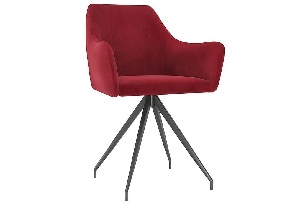 Spisebordsstole 6 stk. fløjl vinrød - Rød - Møbler - Stole - Spisebordsstole & køkkenstole
