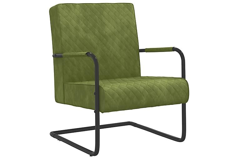 stol med cantilever fløjl lysegrøn - Grøn - Møbler - Stole - Spisebordsstole & køkkenstole