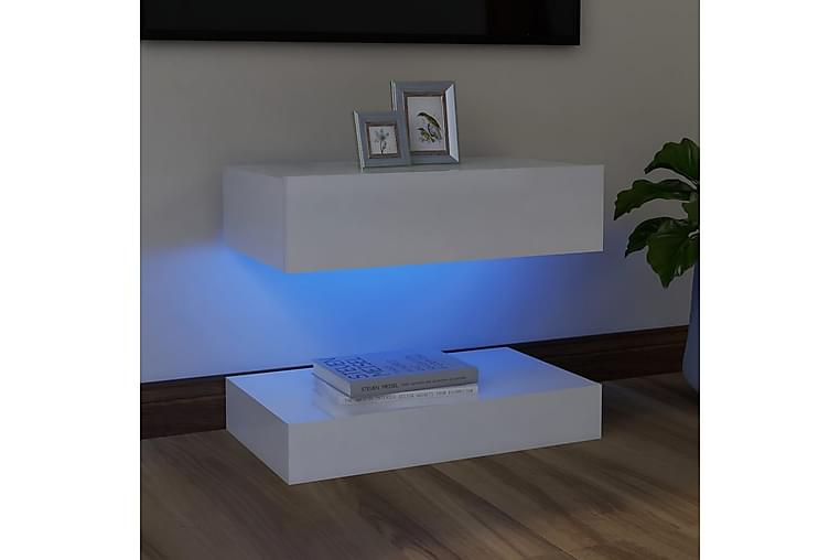 tv-skab med LED-lamper 60x35 cm hvid højglans - Hvid - Møbler - TV-Borde & Mediemøbler - TV-borde
