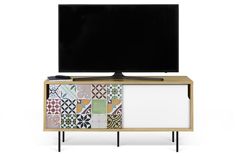 Wendan TV-Bord 135 cm Lappetæppemønstret - Flerfarvet/Hvid/Træ - Møbler - TV-Borde & Mediemøbler - TV-borde