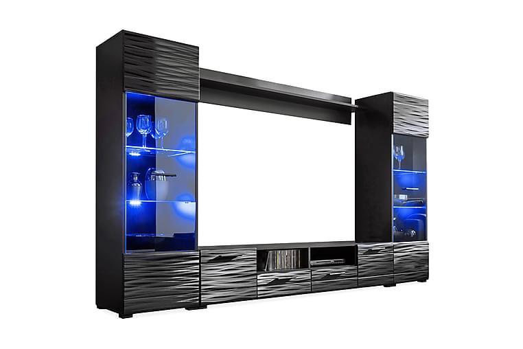 Apryl Mediamøbel 260 cm - Sort - Møbler - TV-Borde & Mediemøbler - Tv-møbelsæt