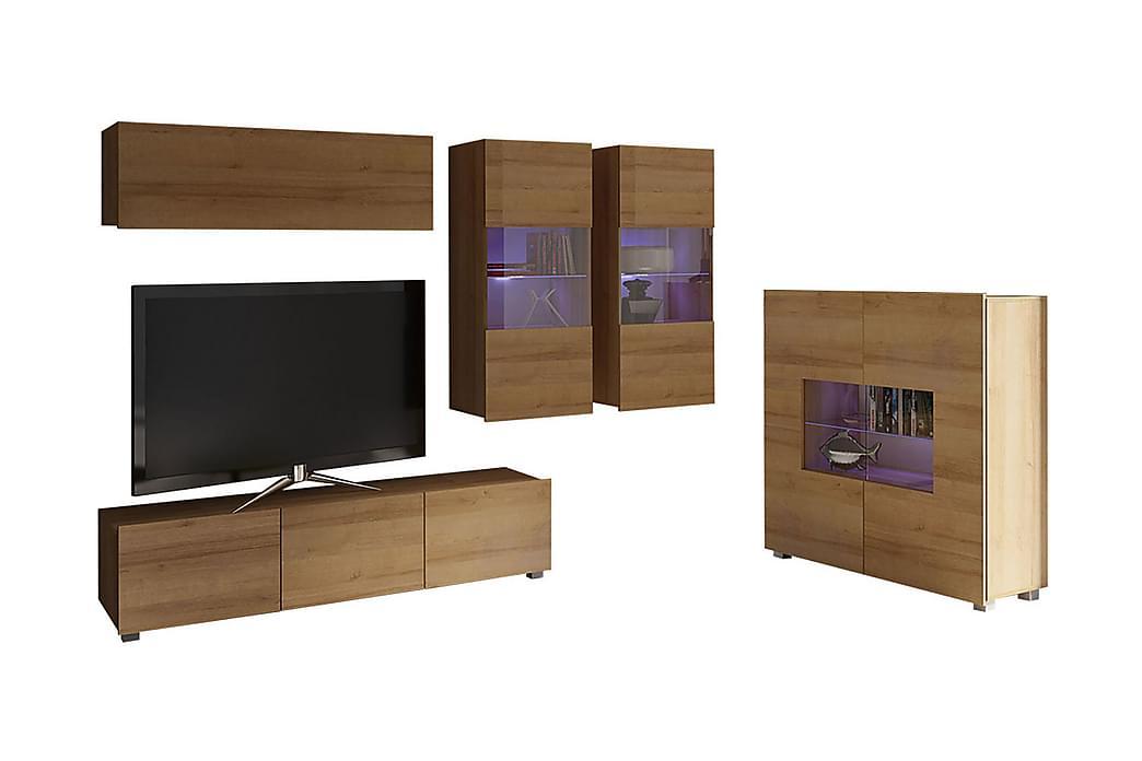 Calabrini tv-møbelsæt & vitrineskab - Brun - Møbler - TV-Borde & Mediemøbler - Tv-møbelsæt