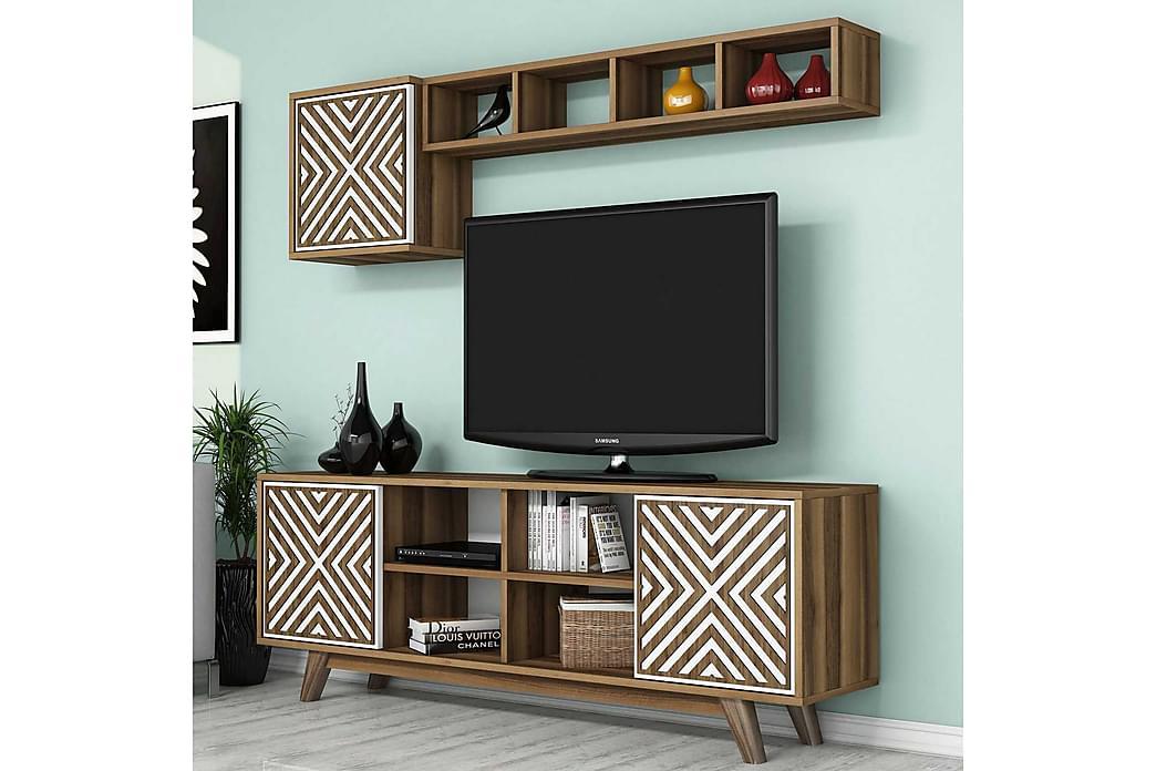Hovdane TV-møbelsæt 160 cm - Brun / hvid - Møbler - TV-Borde & Mediemøbler - Tv-møbelsæt
