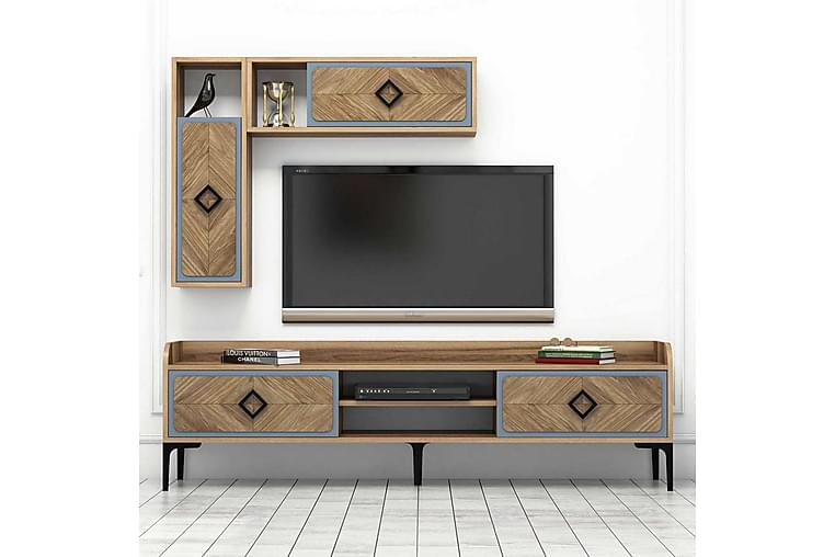 Hovdane TV-møbelsæt 180 cm - Brun / blå - Møbler - TV-Borde & Mediemøbler - Tv-møbelsæt